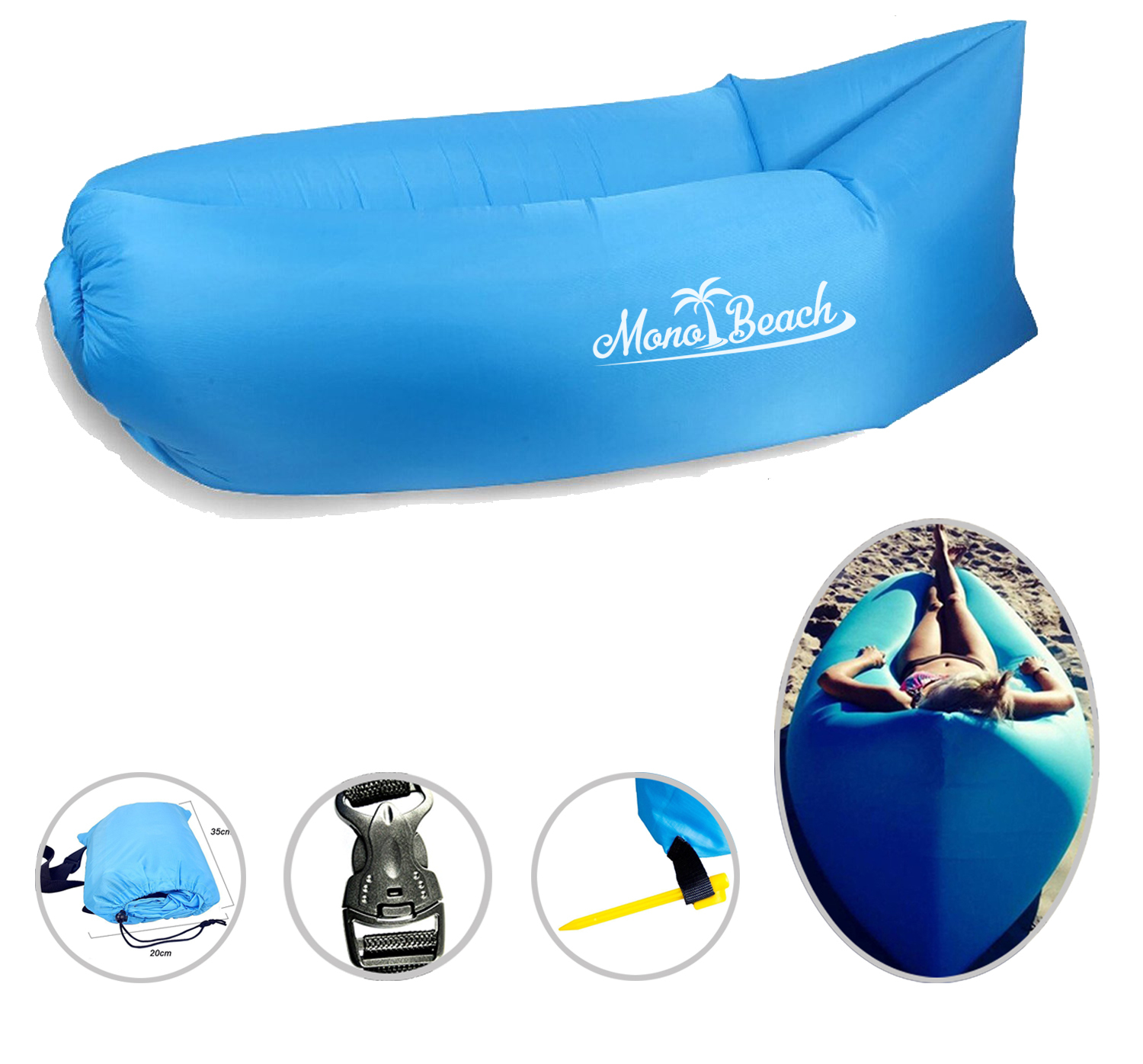 Air Lounger Sofa with Carry Bag Blue