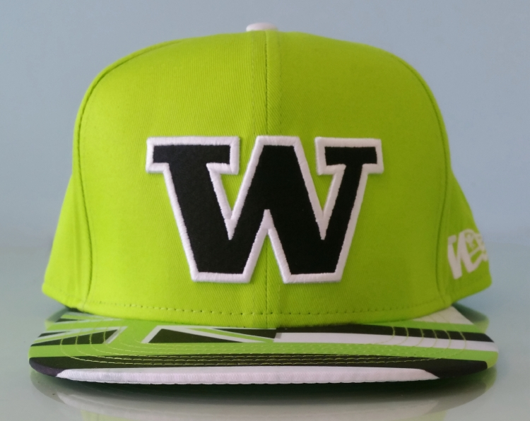 Fashion green cotton material with black logo snapback cap