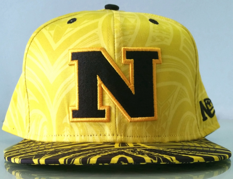 Custom yellow printing black logo snapback cap supplier