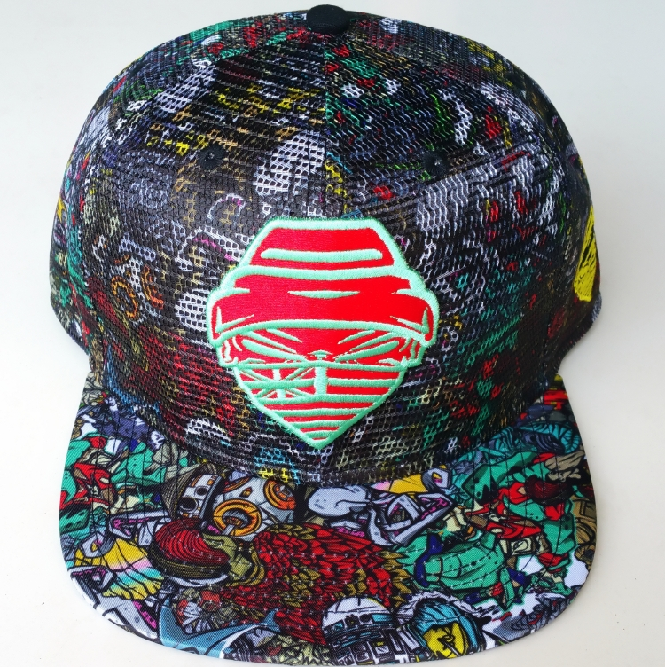 Fashin printing pattern with mesh 6 panel snapback cap