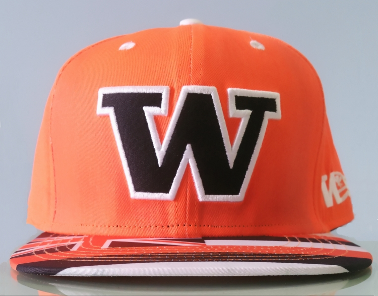 Orange colour cotton with brim printing snapback cap