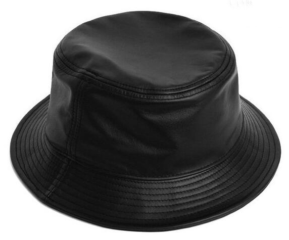 Fasion black fake PU leather blank bucket hat collection