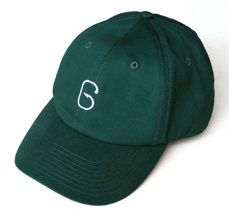 Popular dark green 6 panel hat with logo dad hat