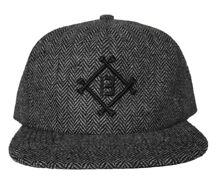 Custom 5 Panel cap grey wool material snapback cap