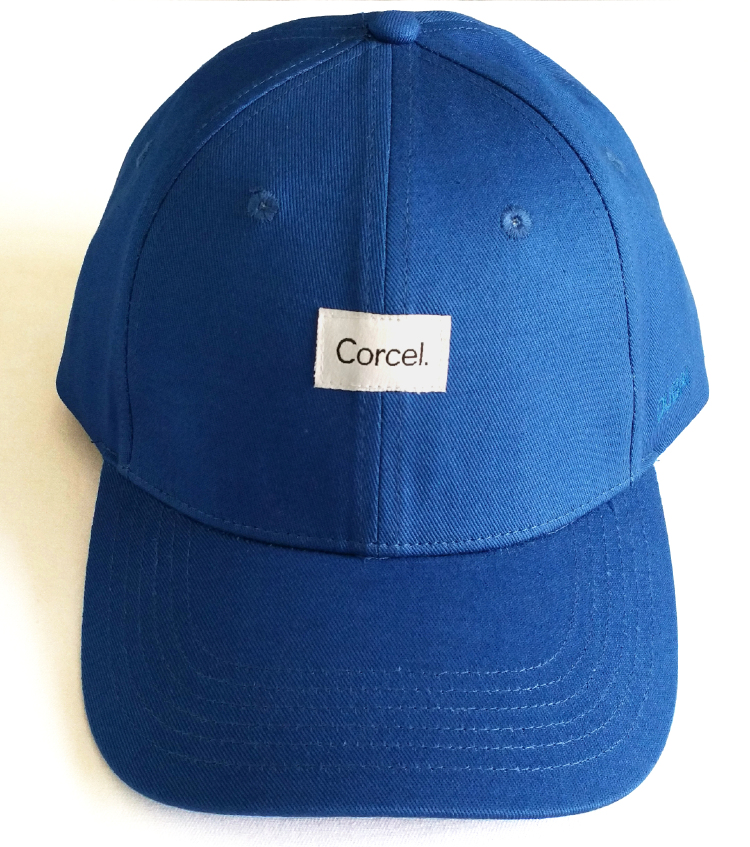 Custom cotton baseball cap with woven label