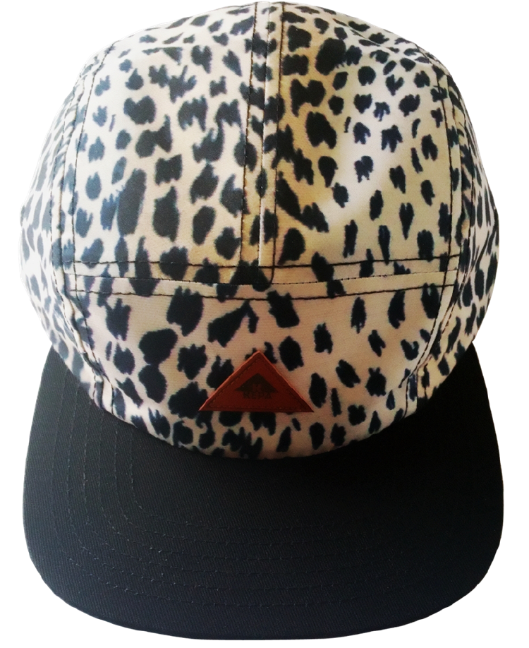Custom printing pattern 5 panel hat with leather patch