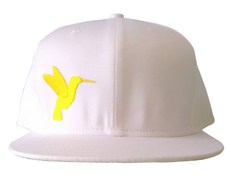 100% white cotton twill flat embroidery snapback cap