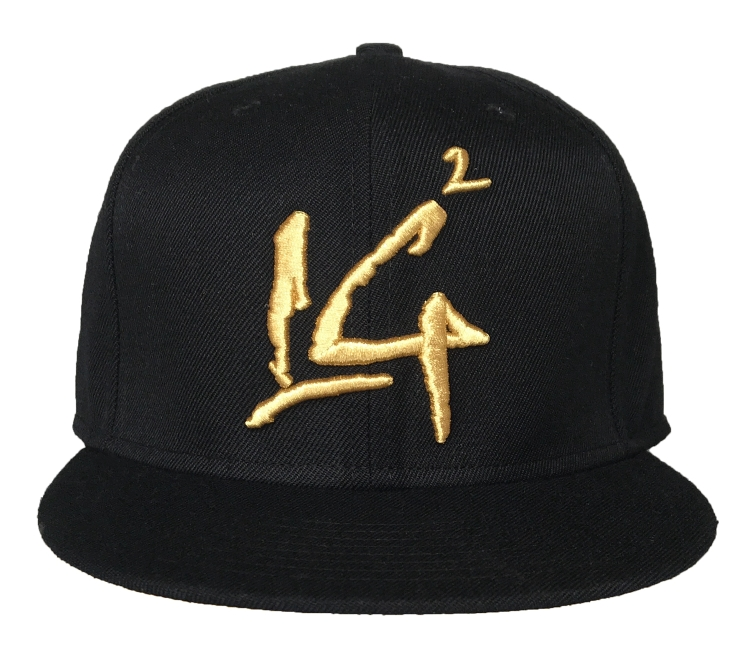 Custom round brim 3D metallic gold embroidery snapback cap