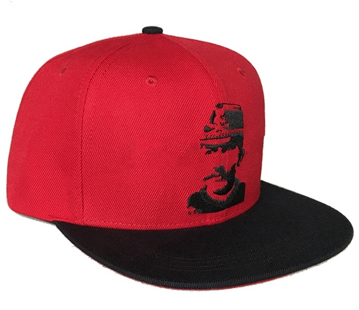 Custom red cotton material 6 panel snapback cap supplier