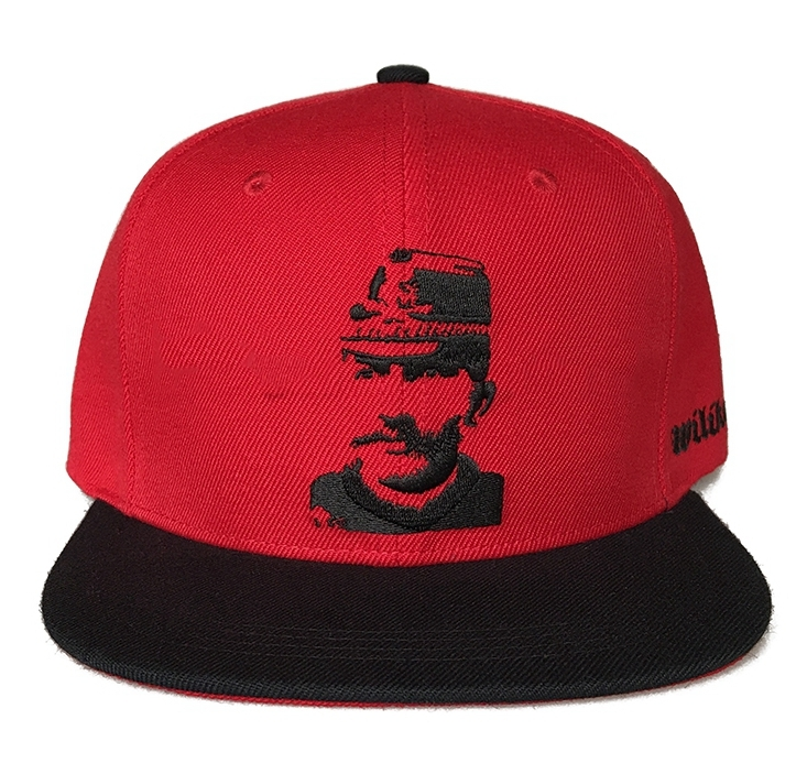 Custom red cotton material 6 panel snapback cap
