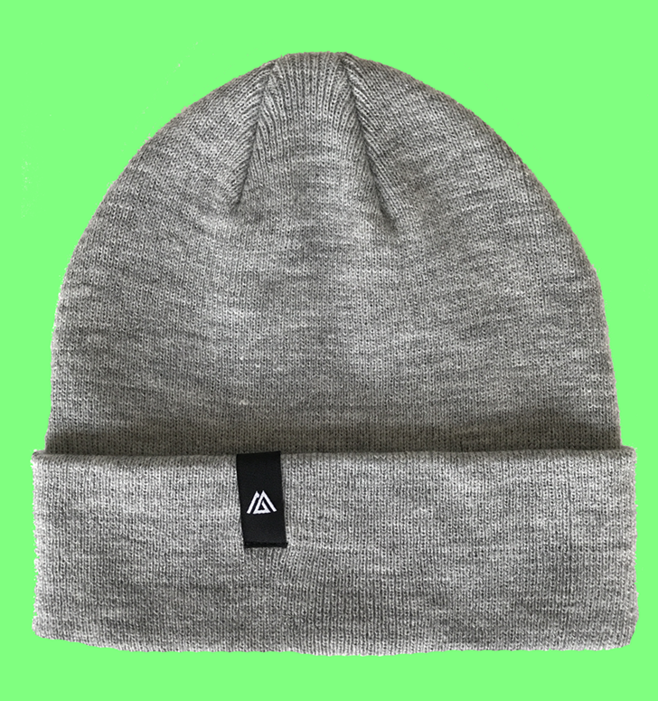 Beanie hat with woven label logo knitted hat