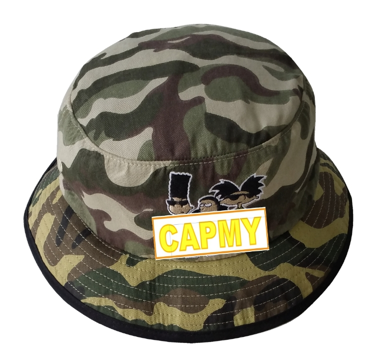 Outdoor camo fabric embroidery logo bucket hat manufacturer