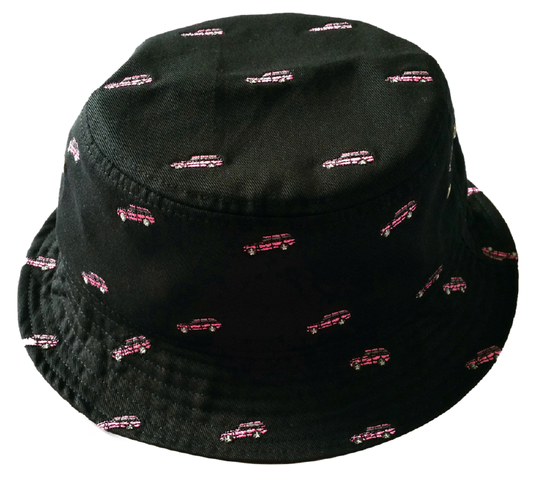 Black cotton material with full embroidery logo bucket hat