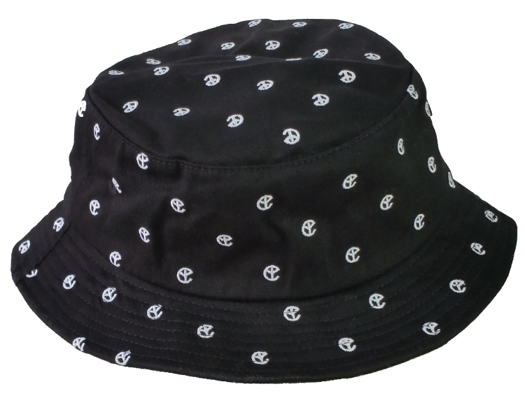 Black cotton twill embroidery logo bucket hat collection.