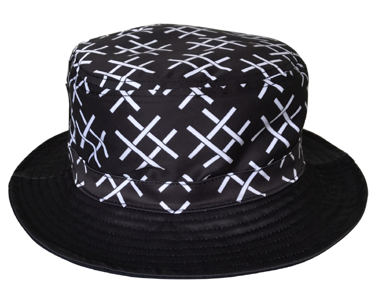 Black polyester printing white logo bucket hat supplier
