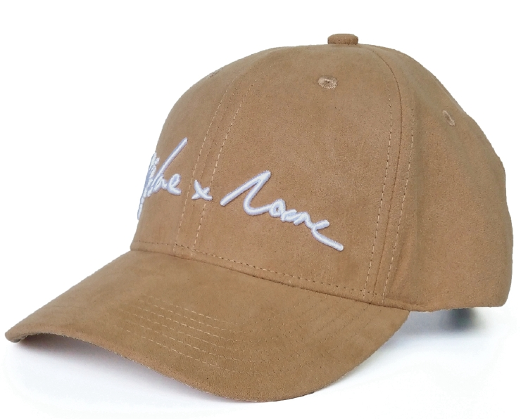 Fashion brown faux suede 6 panel baseball cap supplier