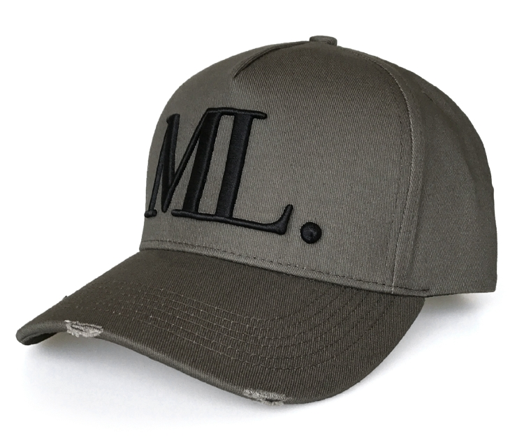 Dark Brown Washed Fabric Cotton With Rip Baseball Cap Hat