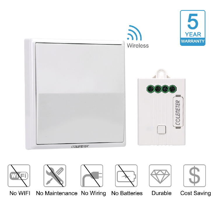 COLEMETER Wireless Light Switch Kit , No Wiring , No Battery