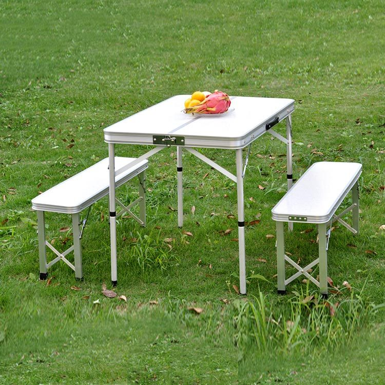 PC1858 - camping aluminium folding table handy table with 2 bench set
