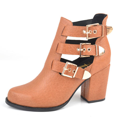 China factory genuine leather buckle ankle boots shoes in do