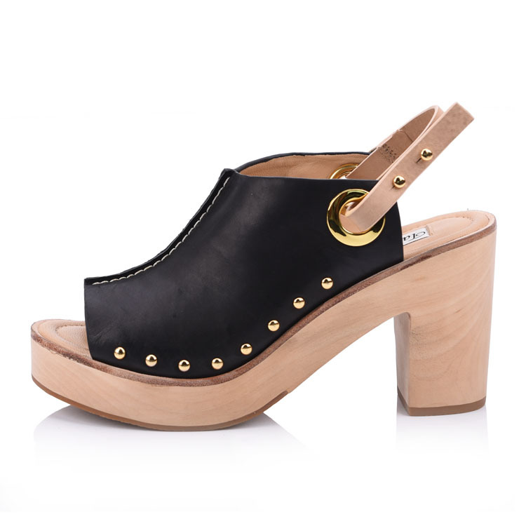 Genuine leather wooden heeled Sandal shoes china factory