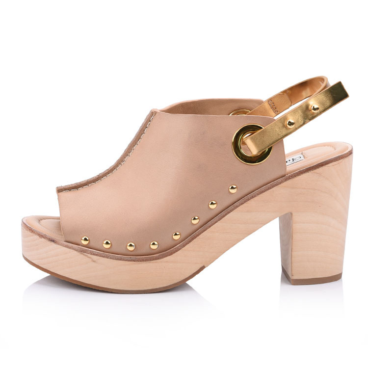 Clog heeled sandals shoes china factory