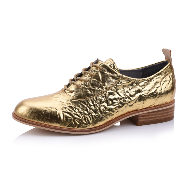 patent genuine leather lace up ladies