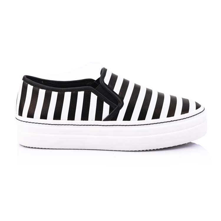 stripe printed genuine leather women flat shoes footwear com