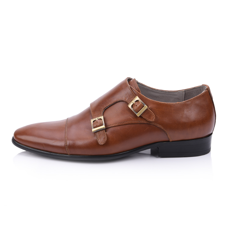 mens tan monk strap leather shoes suppliers and manufacturer