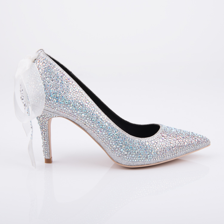 Crystal embellished high heel pump pointed toe women shoe su