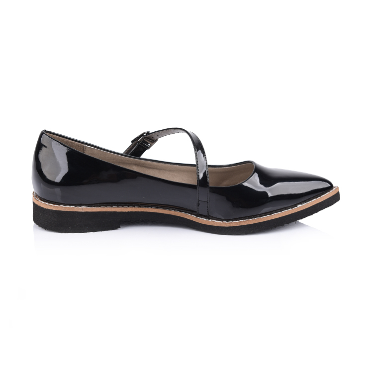 pointed toe patent leather women ballet flat shoes manufactu