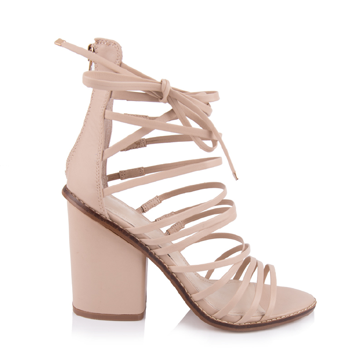 nude leather peep toe chunky heels sandals shoes manufacture