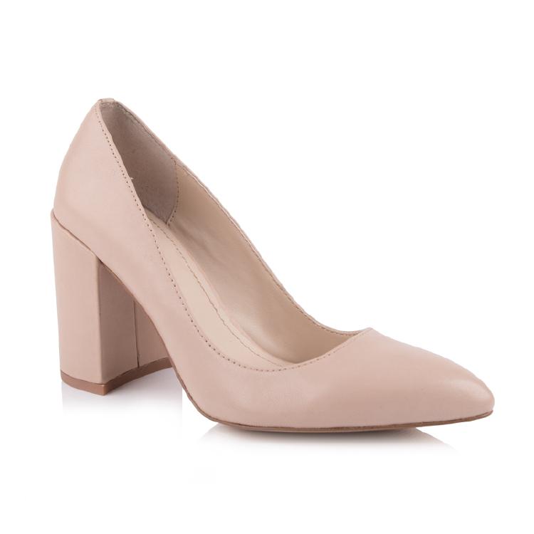 nude pumps thick heel