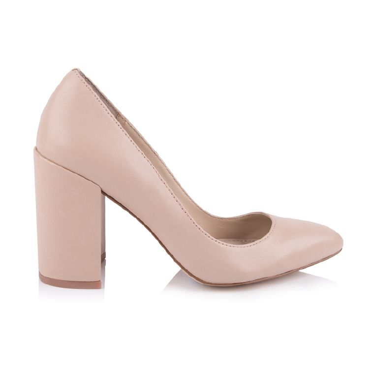 pointed toe nude leather chunky heels women pumps shoes manu