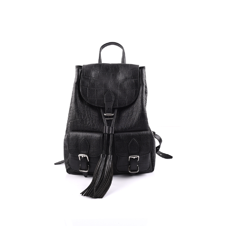 cow leather black women backpacks manufacture