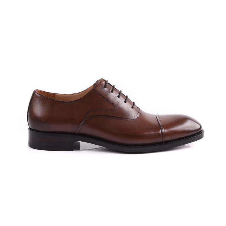 Goodyear leather men oxfold lace up shoe manufacture