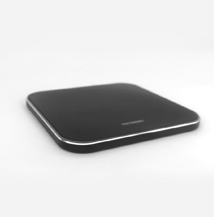 10W square shape wireless charger aluminum alloy mirror wire