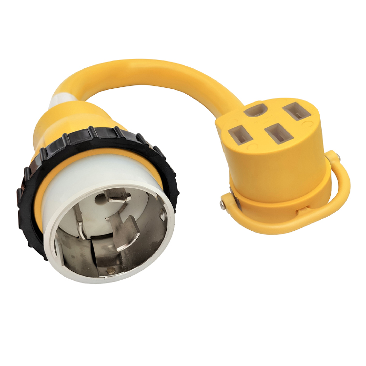 SS1-50P to 14-50R RV Receptacle (Yellow, 1.5FT)