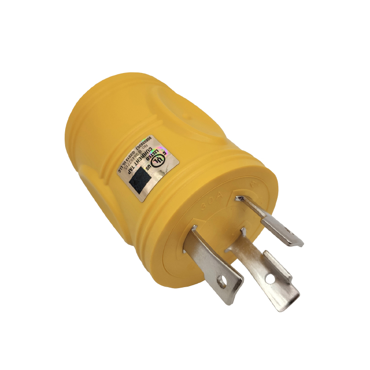 NEMA L5-30P to TT-30R RV adapter (Yellow)