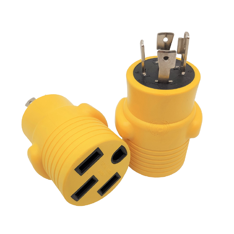 NEMA L14-30P to 14-50R adapter (Yellow)