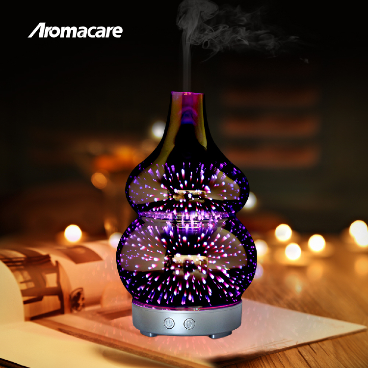 3D Fireworks Design Glass Ultrasonic Aroma  Oil Diffuser