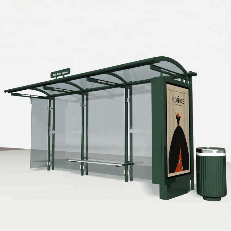 Metal structure shelter advertising bus stop with light box
