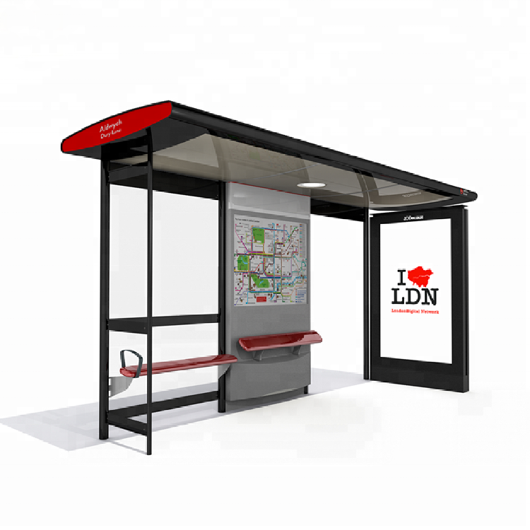 Metal Bus Stop Shelter Install Scrolling System Light Box A0