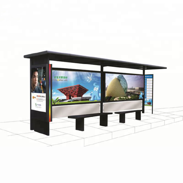 Advertising Bus Station Shelter Design Light Box With Bench