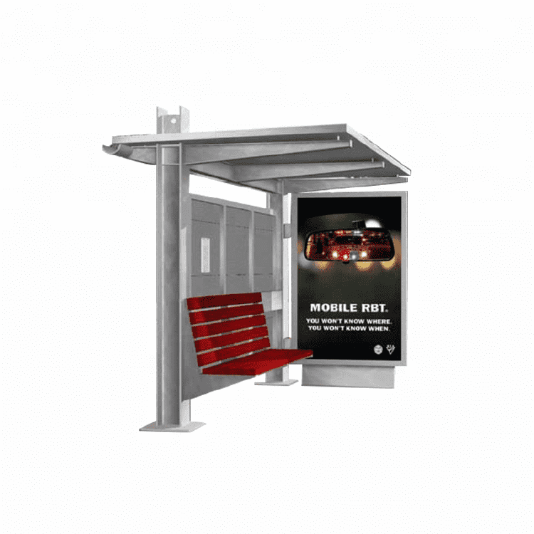 Popular Outdoor Advertising Stainless Steel Bus Station Shel