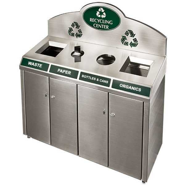 public stainless steel 4 compartment trash and recycling bin