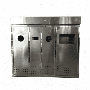 outdoor stainless steel trash bin 3 compartmentH002