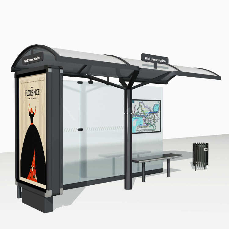 Modern Urban Smart Metal Bus Stop Shelter Design A022