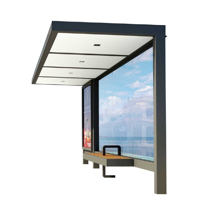 Newest Style Outdoor Frame Tempered Glass Bus Stop Shelter A