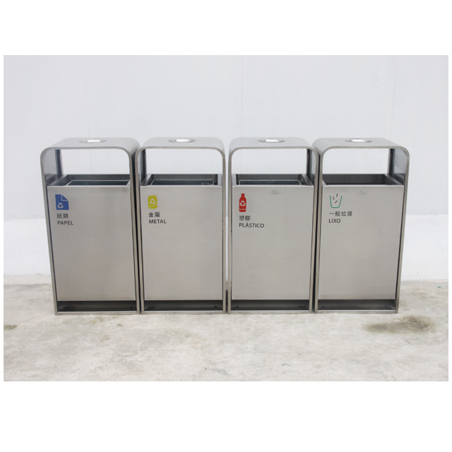 Metal airport stainless steel waste bin outdoor door recycli
